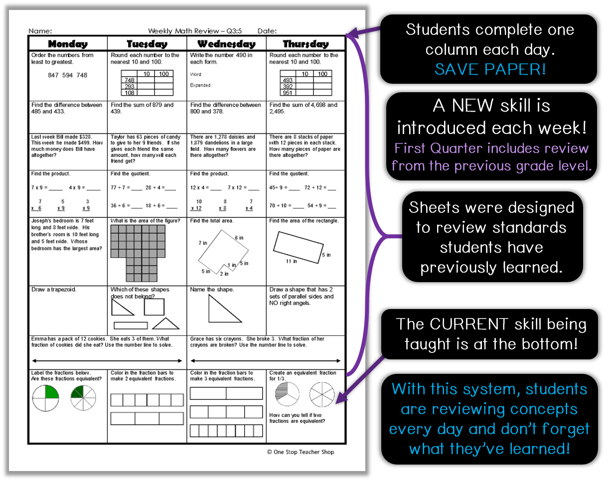 Spiral Math Homework to Reinforce the Standards - One Stop Teacher Shop