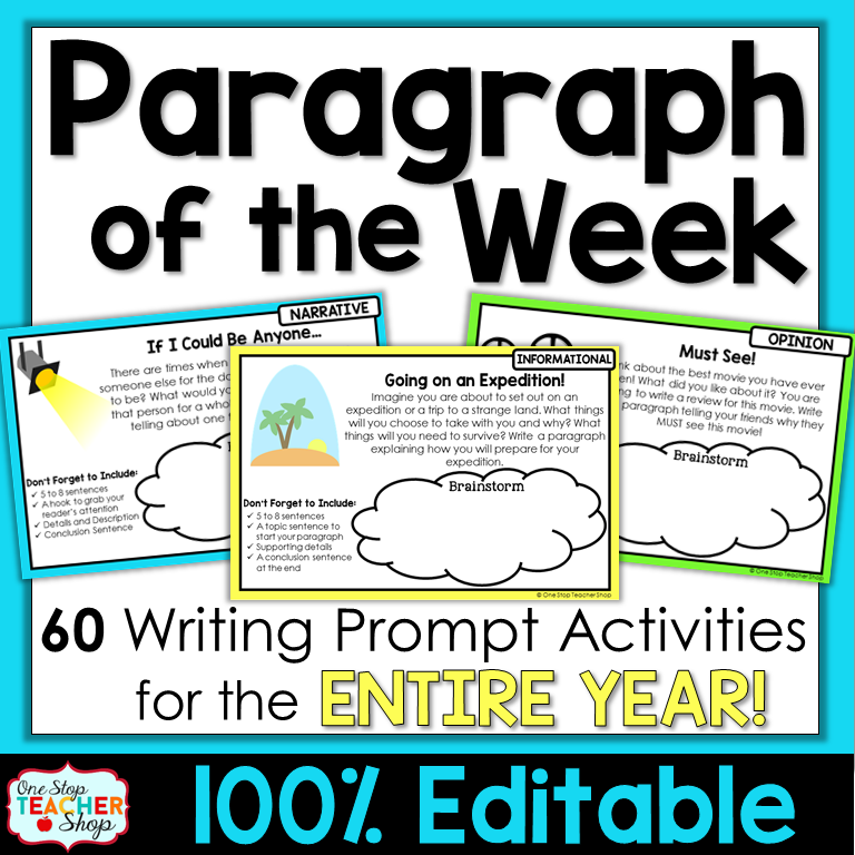 weekly writing prompts This website is designed to be a toolkit for fifth grade writing activities for after school program educators in this toolkit you will find multiple informative, opinion and persuasive writing prompts for each month of the year.