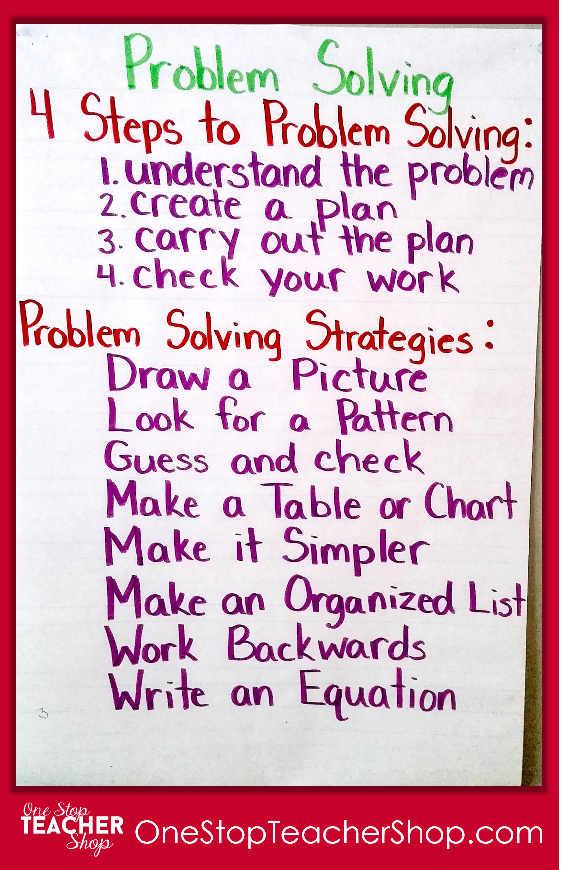 Problem Solving Anchor Chart - Check out my collection of anchor charts for math, reading, writing, and grammar. I love anchor charts even though I'm not so great at making them! Also, get some tips for using anchor charts effectively in your classroom.
