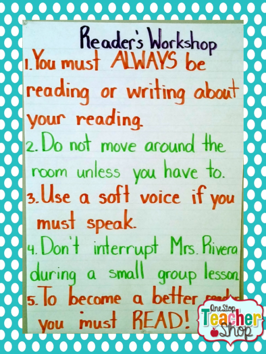 Reader's workshop anchor chart: Check out my collection of anchor charts for math, reading, writing, and grammar. I love anchor charts even though I'm not so great at making them! I hope you enjoy my anchor charts!