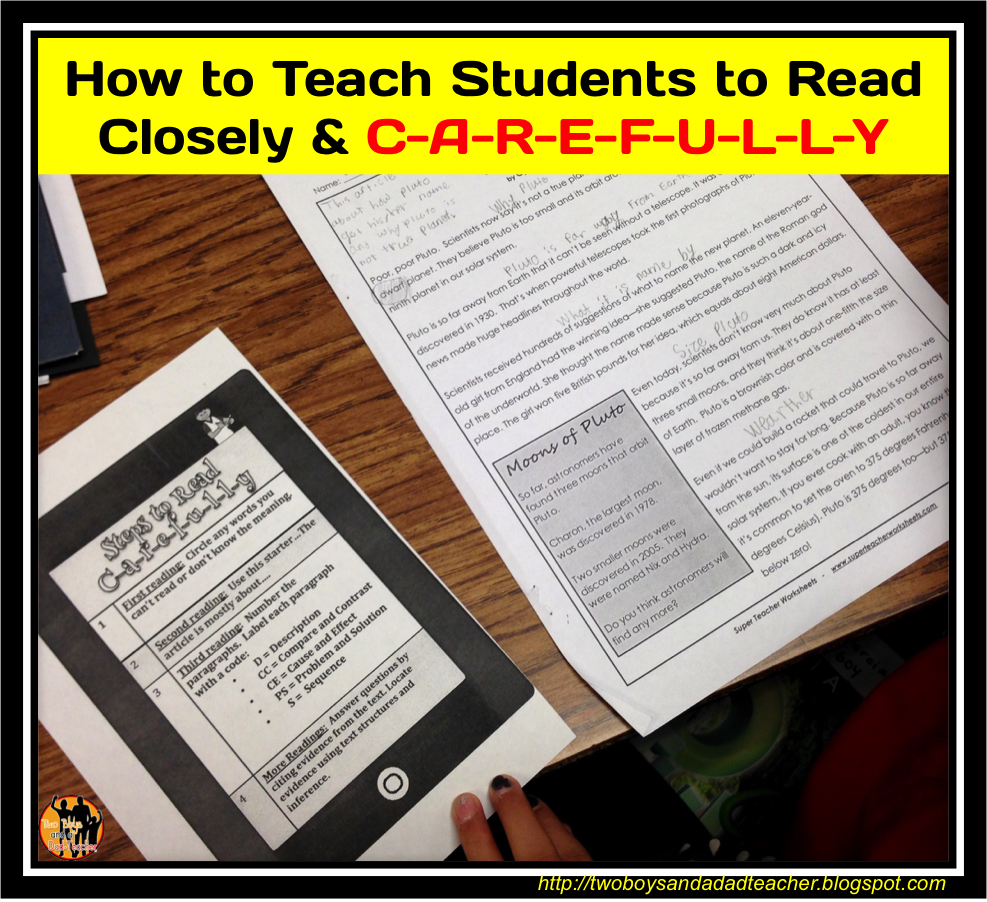 Some great tips and ideas for teaching students to read closely ad carefully.
