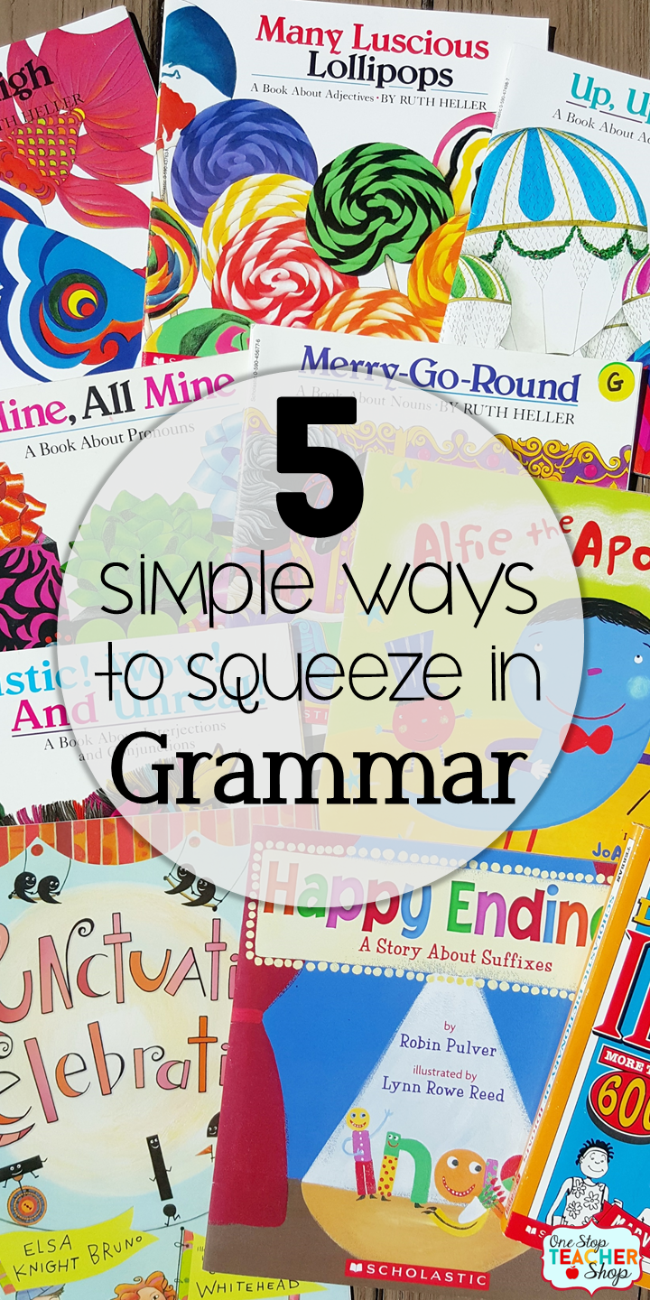 Grammar is important! Teaching grammar doesn't always happen though. Read about my 5 simple ways to squeeze in grammar instruction with grammar activities and daily grammar review. {Number 3 is a MUST!}