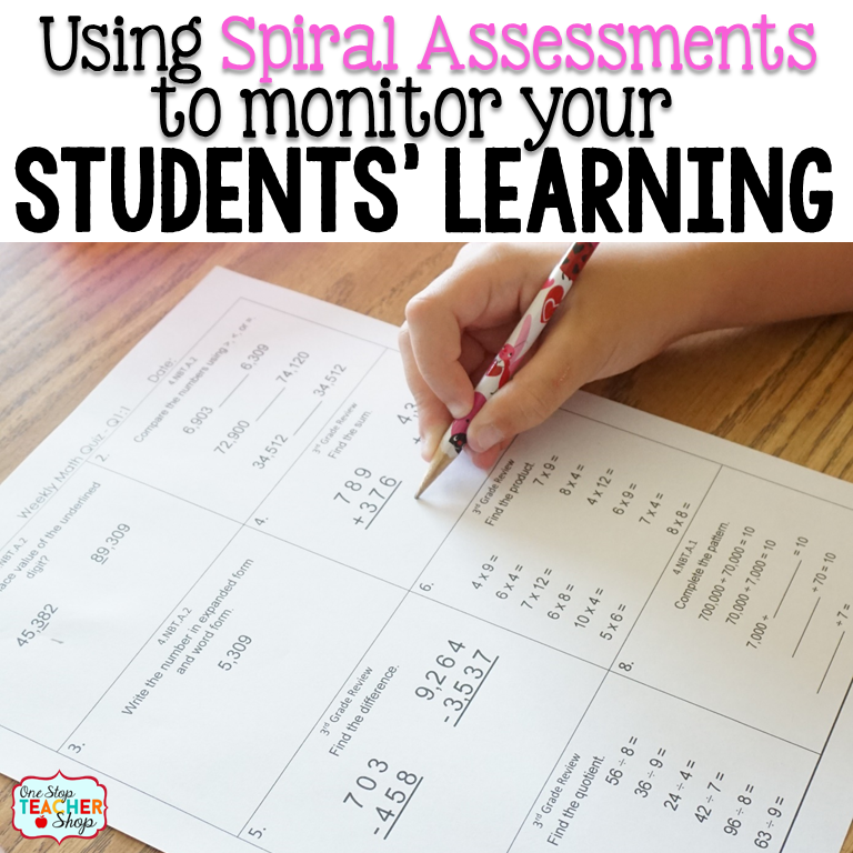 Spiral Assessments and Quizzes are an important part of instruction! Find out how you can use Spiral Math Assessments to help your students. Progress Monitoring, Quiz Grades and More!