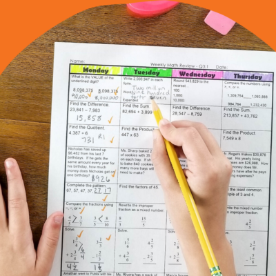 Math Spiral Review & Quizzes   Homework or Morning Work