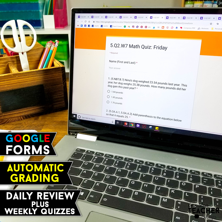 Digital Math Spiral Review with Google Forms. Now with self-grading and automatic data collection. Use these Google Forms for Homework, Math Centers, Morning Work, Warm ups. Perfect for Google Classroom.