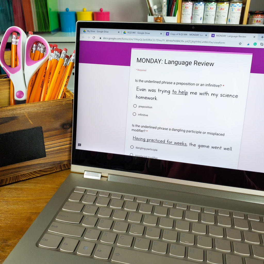 Digital Language Spiral Review with Google Forms. Fully practice and review grammar and word study standards all year! Now with self-grading and automatic data collection. Use these Google Forms for Homework, Centers, Morning Work, or Warm ups. Perfect for Google Classroom.