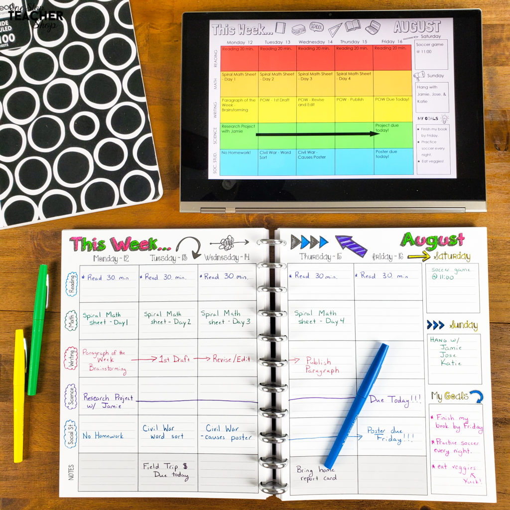 Student planners are the best way to get classwork and homework organized. Totally printable, or go DIGITAL with Google Drive! This agenda is fully editable and comes with lots of covers, weekly agenda templates, calendars, and fun forms for optimal organization. Perfect for homeschool, elementary, middle, or high school students.